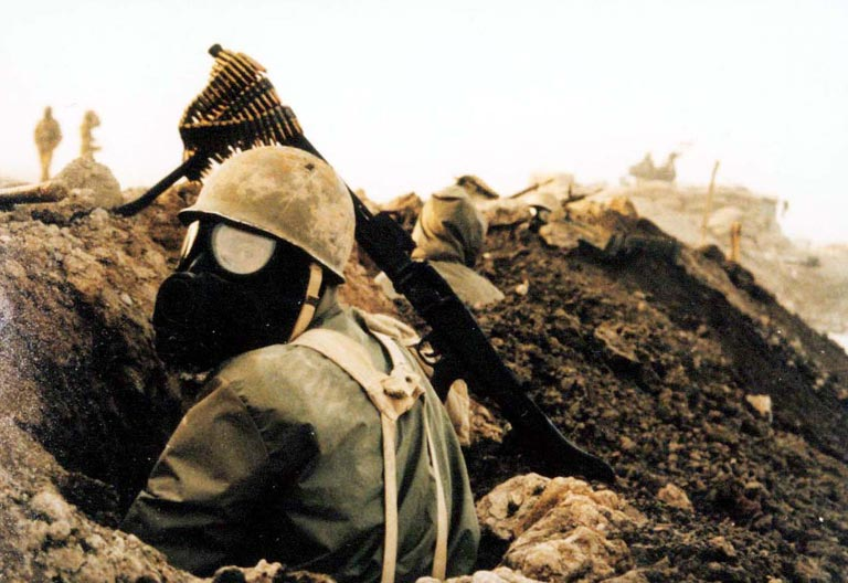 Iranian soldier in gas-mask