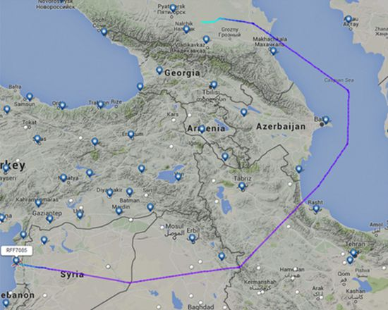 "Route used to transport Russian freight to Syria. Copyright ""The Aviationist"""
