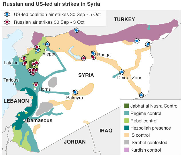 Map of Syria showcasing the Russian and US-led airstrikes. 'World War 3' is being fought in Syria.