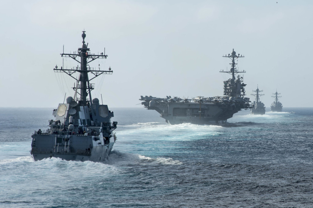 USS Mobile Bay (CG 53) conducts show-of-force transit