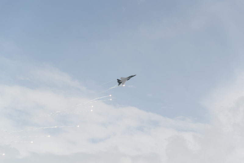 F-15SG popping flares over the sky of Changi.