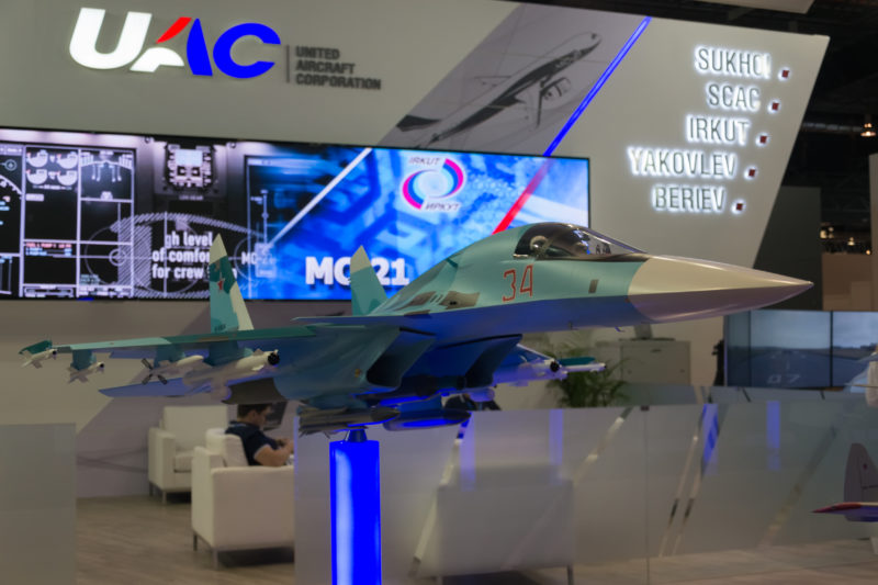 Model of the Su-34 at UAC stand. It is marketed as Su-32 for the export market.