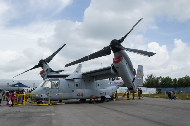 Along with P-8 and F-22, the MV-22 Osprey also had its debut on Singapore Air Show.