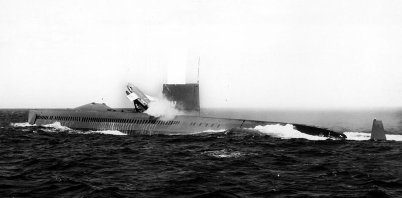 The U.S.S. Halibut launching a Regulus missile