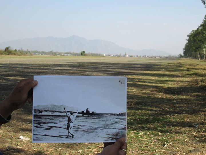 Then and Now photo of 'Imphal Main' airstrip. Dakotas played significant role in reinforcement.