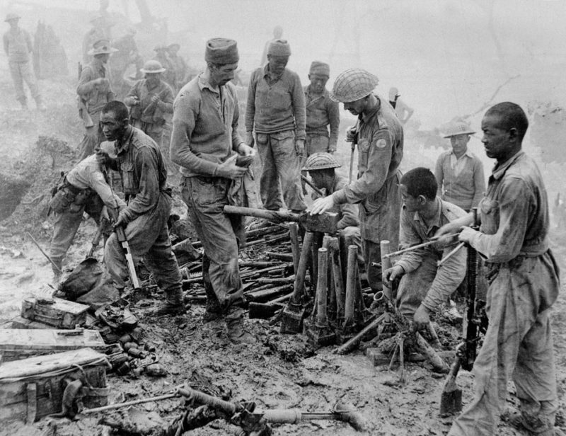 Indian and Gurkha soldiers inspect captured Japanese ordnance, National Army Museum Archives, UK